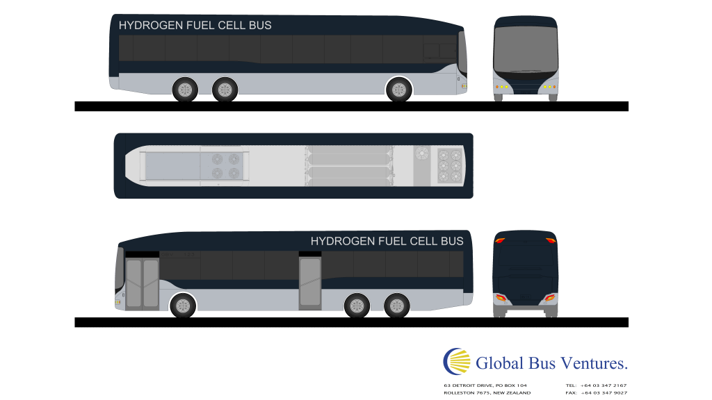 Hydrogen bus mock up for Auckland Transport